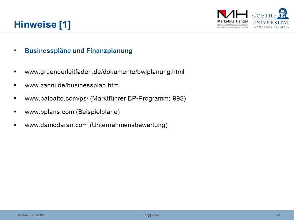 Hinweise [1] Businesspläne und Finanzplanung
